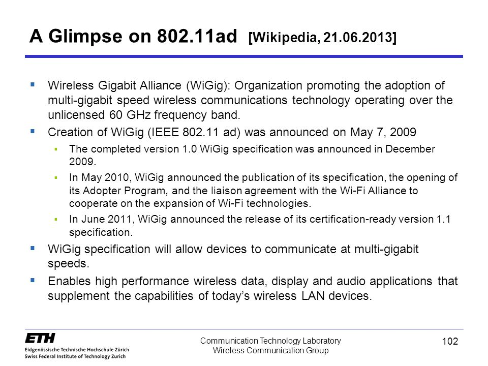 A Glimpse on 802.11ad [Wikipedia, 21.06.2013]